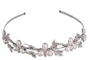 Drasawee Handmade Crystal Pearl Bridal Hair Accessories Headdress Rhinestone Hair Clip Tiaras