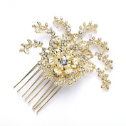 Mariell 14K Gold Plated Bridal, Prom or Wedding Crystal Comb with Vintage Floral Design