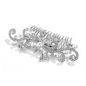 Mariell Silver Rhodium Bridal, Prom or Wedding Crystal Comb with Vintage Scroll Design