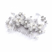 Mariell Vintage Wedding or Brides Flexible Hair Comb with Silver Rhodium Flowers, Pearl & Crystal Sprays