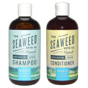 Seaweed Bath Company Unscented All Natural Organic Shampoo and Conditioner Bundle With Organic Bladderwrack Seaweed, Aloe Vera, Argan Oil and Vitamin E, 350ml each