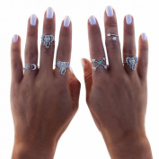 Wensltd 6 Pcs Vintage Arrow Moon Turquoise Joint Knuckle Nail Midi Rings