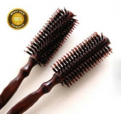 OPCC 2 pcs Styling Essentials Natural Boar Bristles Hair Brush, Round Comb Twill 9.9cm