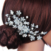 WINOMO Delicate Bridal Wedding Rhinestones Pearl Decor Hair Comb Hair Accesories