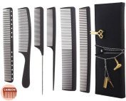 6pcs Professional Salon Hair Cutting Comb Set, Stylist Hairdresser Barber Comb Set with Hairstylist brooch pin and Rhinestone Necklace