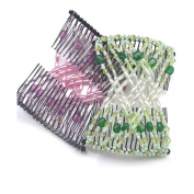 Casualfashion 2pcs Fashion Women's Easy Stretch Hair Comb, Beaded Combs Clips for Thick and Thin Hair