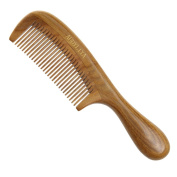 AUDYLIYA Handmade Natural Green Sandalwood Comb with Rounded Handle ,Gift Box,Fine tooth