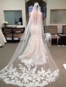 Venusvi Lace Edge Cathedral Length Wedding Bridal Veil+Comb