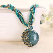 A & C Fashion Green Peacock Bohemia Necklace for Women. Indian Weave Necklace for Girl.