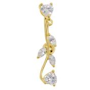 Adela Reverse Belly Button Ring Heart Shape Cubic Zirconia Dangle Navel Ring Body Jewellery Piercing
