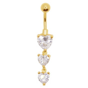 Adela Reverse Belly Button Ring Heart Shape Cubic Zirconia Dangle Navel Ring Body Jewellery Piercing