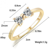 Bridalvenus Vintage Bowknot Shaped Rings with Rhinestones Rings for Women and Girls