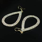 Bridalvenus Luxuriant Elliptic Shaped Earrings with Rhinestones for Women and Girls
