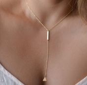 Leiothrix All-match Golden Alloy Necklace with Stick & Triangle for Women and Girls Apply to Weeding Party Casual
