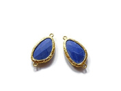 Foxy Findings Gemstone Collection Gold Plated Bezel Set Faceted Lavender Blue Connector Set of 1 24mm GS011-g