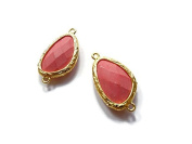 Foxy Findings Gemstone Collection Gold Plated Bezel Set Faceted Pink Coral Connector Set of 1 24mm GS010-g