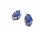 Foxy Findings Gemstone Collection Silver Plated Bezel Set Faceted Lavender Blue Coral Connector Set of 1 24mm GS007-s