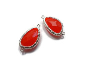 Foxy Findings Gemstone Collection Silver Plated Bezel Set Faceted Ruby Red Glass Connector Set of 1 24mm GS005-s