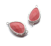 Foxy Findings Gemstone Collection Bezel Set Faceted Pink Coral Connector Set of 1 24mm GS001-s