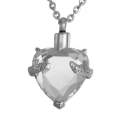 ZARABE Urn Pendant Necklace for Ashs Cremation Jewellery Heart Memorial Pendant