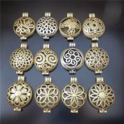 12pcs Mixed Aromatherapy Bronze Pendant Locket Essential Oil Diffuser