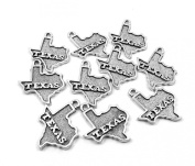 Set of Ten (10) Silver Tone Pewter State of Texas Charms