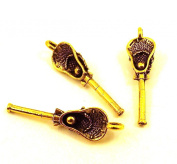 Set of Three (3) Gold Tone Lacrosse Stick with Ball Charms