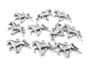 Set of Ten (10) Silver Tone Pewter Tennessee Walking Horse Charms