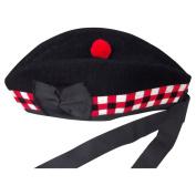 New Glengarry Diced Black Wool Scottish Bagpipe /Kilt Hat Size 7 1/8, UK 57