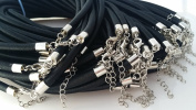 Black Silk Necklace Cords w Silver Brass Clasp- Jewellery Making 3mm, 18""