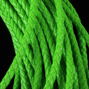 Linsoir Beads F2023 Round Folded Bolo PU Braided Leather Cord for DIY Jewellery Making Dia 6mm 5meters/lot,Green Colour