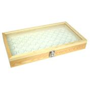 50 White Gem Jars in Temper Glass Top Wood Display Case