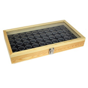 50 Black Gem Jars in Temper Glass Top Wood Display Case