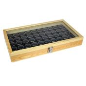 50 Black Gem Jars in Temper Glass Top Wood Display Case