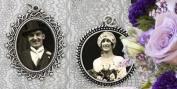 Vintage Set of 2 Bridal Wedding Bouquet Photo Charms Includes Bonus Photo Resizer Software