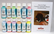 Duncan OSKIT-7 Pastel Colours Acrylic Paint Set, 12 Best Selling Colours in 60ml Bottles with Free How To Paint Ceramics Book