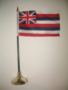 10cm x 15cm Hawaii Hawaiian State Flag Desk Set with Gold Base