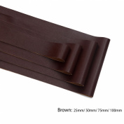 Neotrims PU Faux Leather Ribbon Tape Trimming, Cut in 4 widths, Leatherette Supple Binding,Coach Pram Strap Strip. 5 Colours. PU Front, Satin Non Woven Fabric Bonded Back. Brown 75mm-5yards