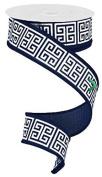 3.8cm X 10 yard Greek Keys Navy Blue White wired ribbon