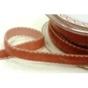 Antique Gold 9mm Velvet Saddle Stitch Ribbon by Bertie's Bows on a 10m Roll