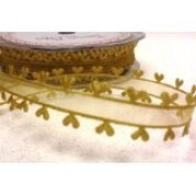 Antique Gold Heart Edge Sheer 15mm Ribbon on a 10m Roll