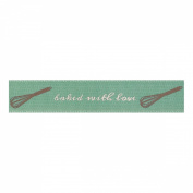 Berisfords 'Baked with Love' Green 15mm Ribbon on a 4m Reel (Natural Charms R...