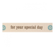 Berisfords 'For your Special Day' Green/Ivory 15mm Ribbon on a 4m Reel (Natur...
