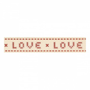 Berisfords 15mm Cross Stitch 'LOVE' Ribbon on a 4m Reel