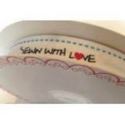 Bertie's Bows 'Sewn with Love' White Grosgrain 16mm Labels on a 25m Roll