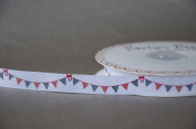 Bertie's Bows 16mm Bunting Grosgrain Ribbon Red White Blue on a 25m Roll