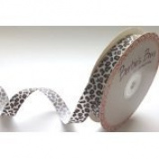 Bertie's Bows 16mm White Leopard Print Ribbon on a 25m Roll