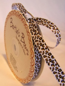 Bertie's Bows 9mm White Leopard Print Ribbon on a 25m Roll