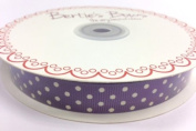 Bertie's Bows Ametheyst with White Polka Dot 16mm Grosgrain Ribbon on a 25m Reel