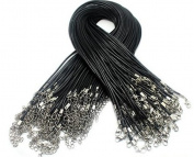 Kingsun 50pcs Imitation Leather Cord Necklaces Black 46cm Lobster Claw Clasp